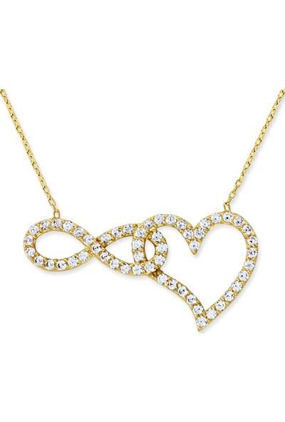Myra Gold Sonsuzluk Detaylı Altın Kalp Kolye (Kly1273)
