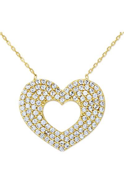 Myra Gold Taşlı Tasarım Altın Kalp Kolye (Kly1199)