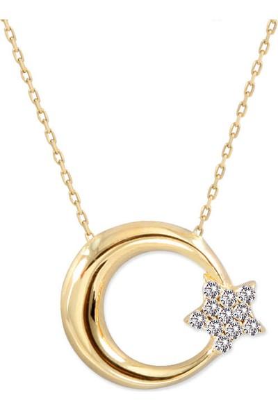 Myra Gold Yıldızı Taş Detaylı Altın Ay Yıldız Kolye (Kly2290)