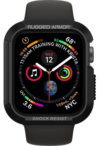 Spigen Apple Watch Seri 5/4 ile Uyumlu (44mm) Kılıf Rugged Armor Black - 062CS24469