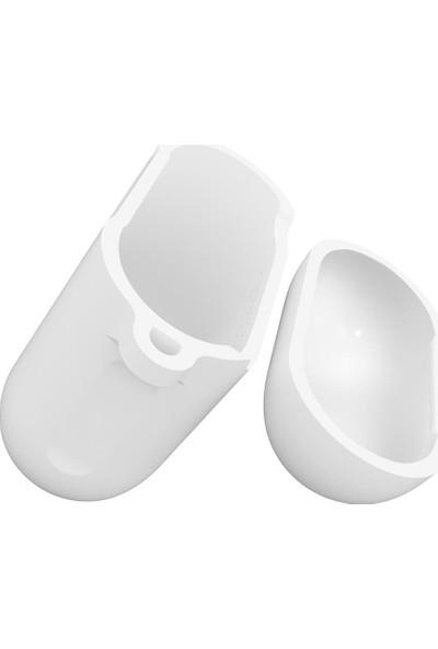Spigen AirPods 2/1 Nesil Uyumlu Kılıf White (Silikon Kasa) - 066CS24809