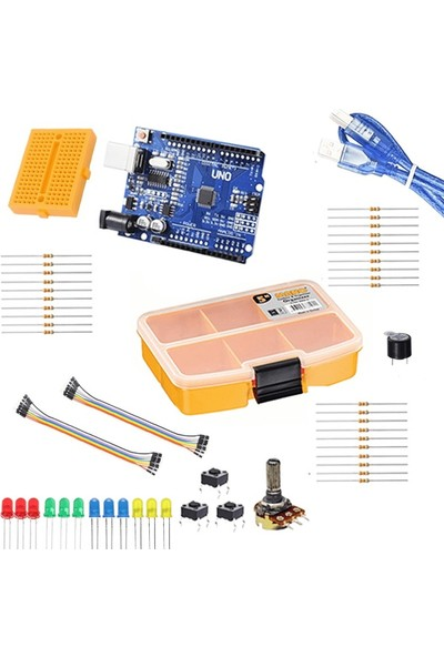 Robocombo Arduino Temel Set Klon Arduino Uno R3 CH340 USB Çip