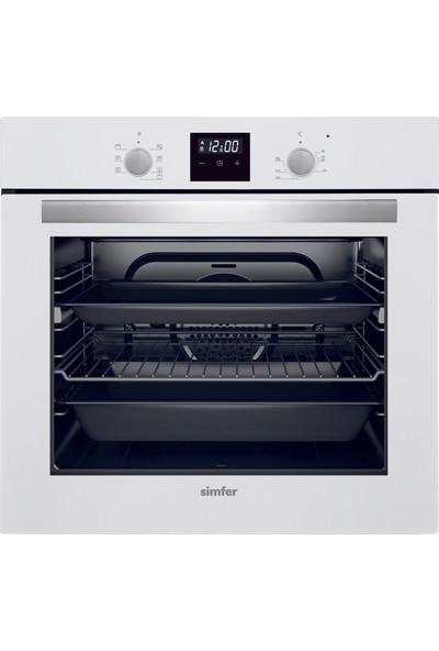 Simfer Beyaz Dokunmatik Dijital Ankastre Set (7310 8 Fonksiyon Dokunmatik Dijital Saat Fırın + 3507 Gaz Kesme Emniyetli Ocak + 8688 Sessiz Motor Uzaktan Kumanda Davlumbaz)