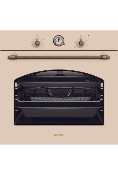 Simfer Rustik Ankastre Set (7318 8 Fonksiyon Analog Cam Saat Fırın + 3322 Döküm Izgara Güçlü Wok Ocak + 8665 Rustik Bej Tasarım Halojen Lamba Davlumbaz)