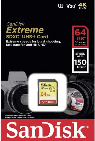 SandiskExtreme 64GB SDXC Card 150MB/s V30 UHS-I U3 Hafıza Kartı SDSDXV6-064G-GNCIN