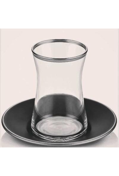 Paşabahçe Heybeli Gümüş Siyah Tabaklı 12 Parça Çay Seti