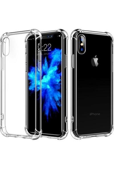 Cekuonline iPhone XS Kılıf Kapak Köşeleri Korumalı Nitro Anti Shock Proof Ultra Koruma Şeffaf Silikon