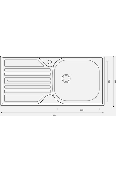 Metal Special For You Renkli Mutfak Evyesi 1 Gözlü 43.5Cm X 86Cm Kırmızı - Mat Damlalık Sag