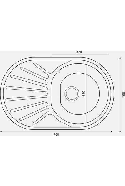 Special For You Renkli Metal Mutfak Evyesi Oval 1 Gözlü 48Cm X 78Cm Siyah - Mat Damlalık Sag