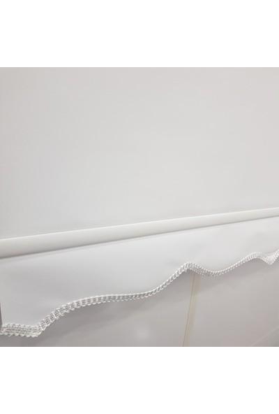 Dekoronyedi Kalın mat Beyaz Stor Perde Etek Oyması Figürlü 30X30