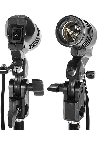 Soundizayn Softbox 3'Lü Strobist Set Sürekli Işık Tekli Duy-Siyah-Gümüş Şemsiye-2M Işık Ayağı