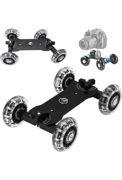 Soundizayn Mini Dolly Slider Skater Dslr Video Sistemler İçin Kamera Arabası (Siyah)