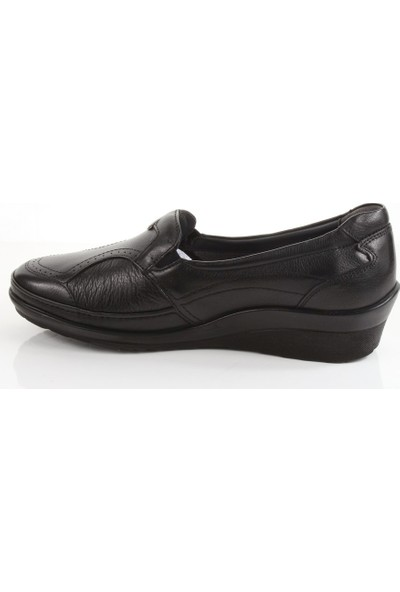 Forelli 26226 Kadın Siyah Deri Halluks Comfort Ayakkabı