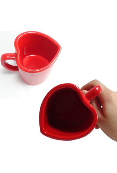 Kalp Tasarımlı Sevgiliye Hediye Kupa Bardak Sevgililer Günü Hediyelik Bitki Çayı Ve Kahve Fincanı
