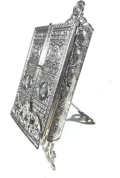 Comeks Orta Boy Kuran Kabı Gümüş Renk Zamak Dekor Hediyelik 18 x 26 cm