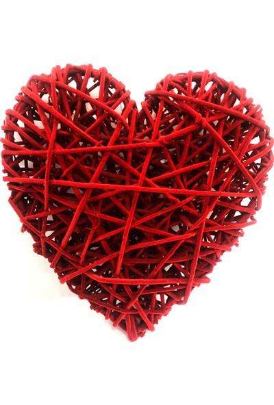 Ayd Sevgililer Gününe Özel Dekoratif Hasır Kalp Süs Kırmızı