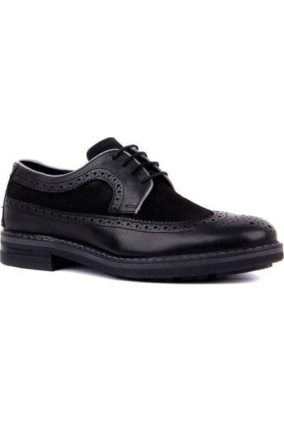 Sail Laker's Siyah Deri Bağcıklı Erkek Günlük Ayakkabı