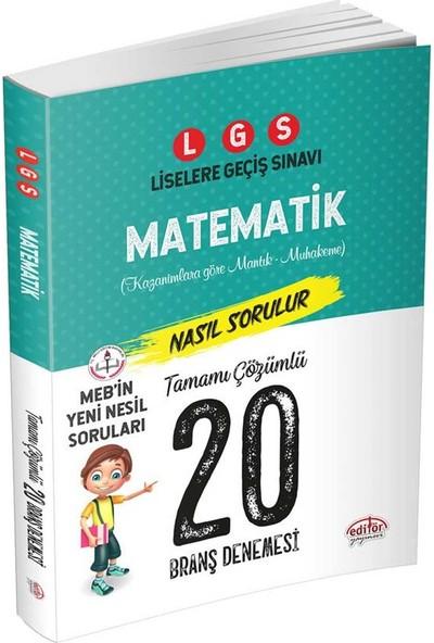 Editör Yayınları 8. Sınıf LGS Matematik Tamamı Çözümlü 20 Deneme