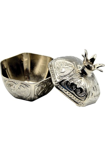 Cansüs 25li Kapaklı Metal Nar Lokumluk Gümüş 5 cm