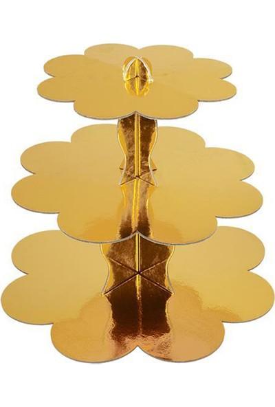 Cansüs 3 Katlı Metalize Karton Cupcake Standı Gold