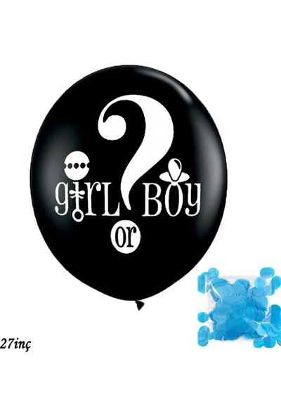 Cansüs 60 cm Girl Boy Lateks Cinsiyet Belirleme Balonu Siyah