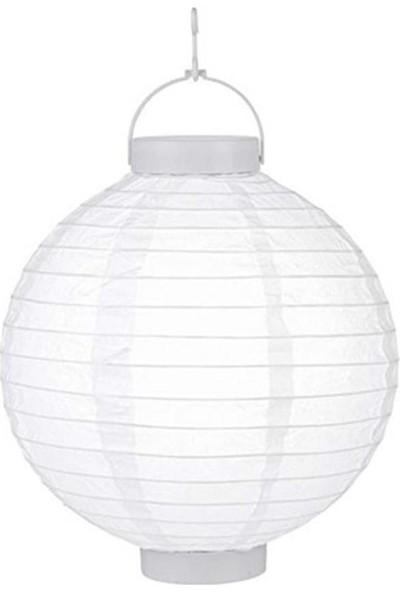 Cansüs Pilli Ledli Kağıt Japon Feneri Beyaz 20 cm