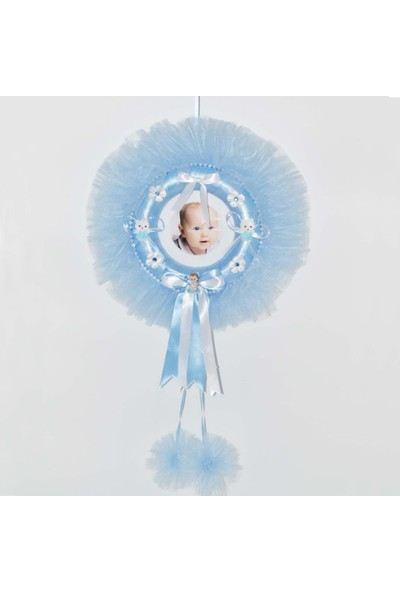 Cansüs Çerçeveli Yuvarlak Bebek Kapı Süsü Mavi