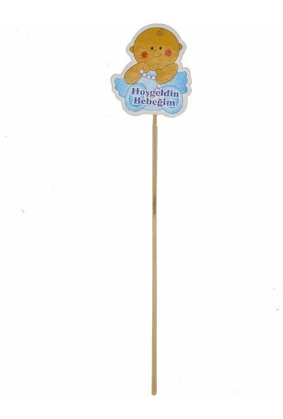 Cansüs 10lu Oturan Bebek Logolu Çubuk Süs Mavi 25 cm
