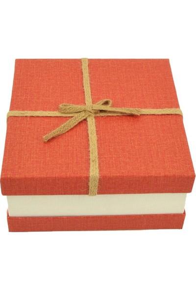 Cansüs 3 Boy İç İçe Geçmeli Hasır İpli Kare Hediye Kutusu Kırmızı