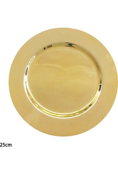 Cansüs 6lı Plastik Krom Tabak Gold 25 cm