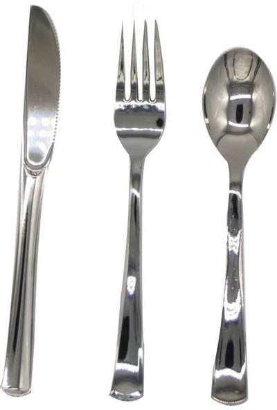 Cansüs 24 Adet Kullan At lüks Plastik Çatal Bıçak Kaşık Gümüş