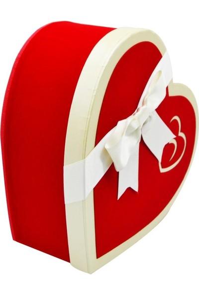 Cansüs 3 Boy Kadife Kaplı Kalpli Karton Kutu Kırmızı