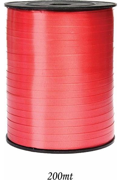 Cansüs 200Mt Şerit Düz Rafya 8Mm Kırmızı