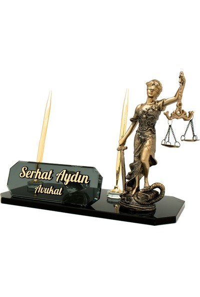 Promofis Avukatlara Özel Themis Biblolu Kristal Masa İsimliği