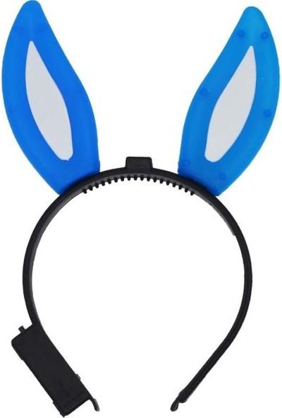 Cansüs Tavşan Kulaklı Işıklı Taç Mavi