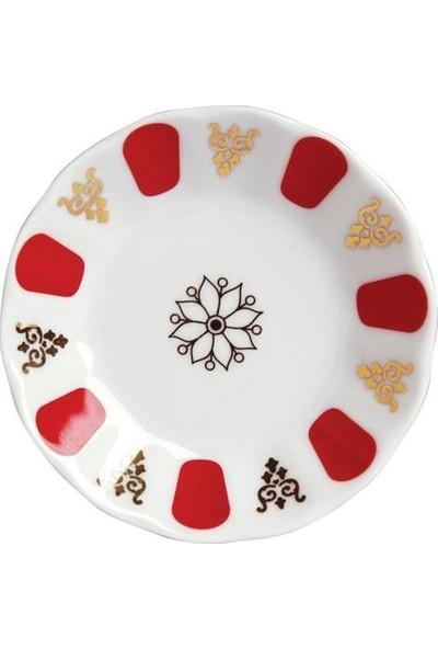 Porland Porselen Acem Kırmızı Yaldızlı Çay Tabağı 12'Li
