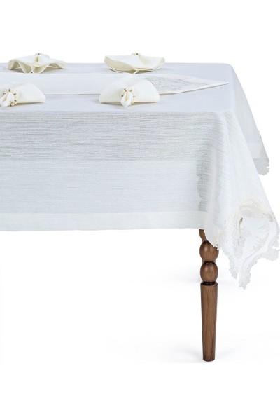 Cotton House Linen 12 Adet Peçeteli Sofra Seti Krem-Ekru