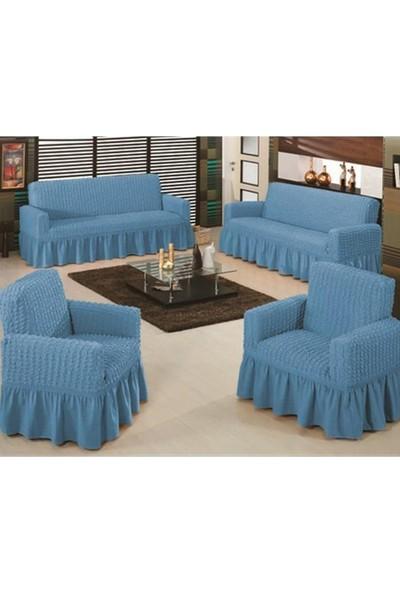 Koltuk Örtüsü Bürümcük Maxi 3+3+1+1 Mavi