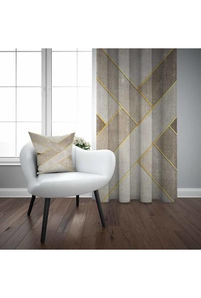 Else Kahverengi Sarı Retro 3D Desenli Modern Fon Perde - 140X270