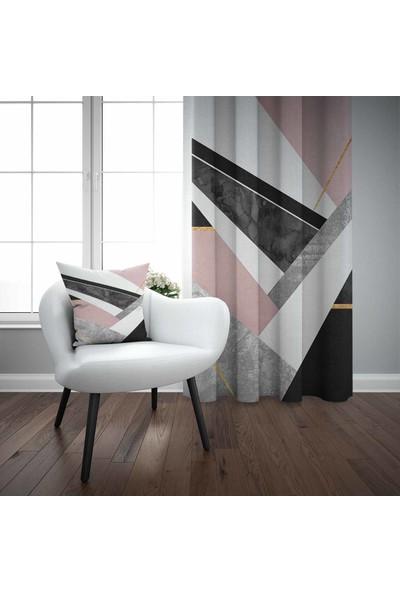 Else Pembe Siyah Geometrik 3D Desenli Modern Fon Perde - 140X270
