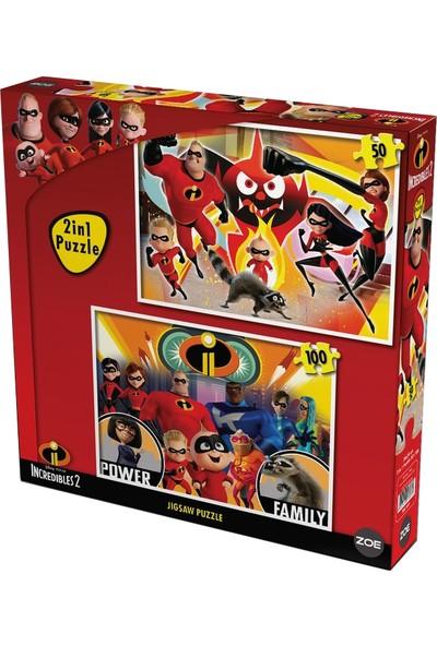 Disney Lisanslı Incredibles 2 (İnanılmaz Aile 2) 100+50 Parça 2İn1 İkili Toplam 150 Parça Puzzle