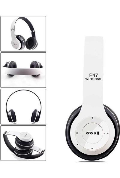 Azr P47 Katlanalabilir 2.4+Edr Kablosuz Bluetooth Kulaklık Beyaz