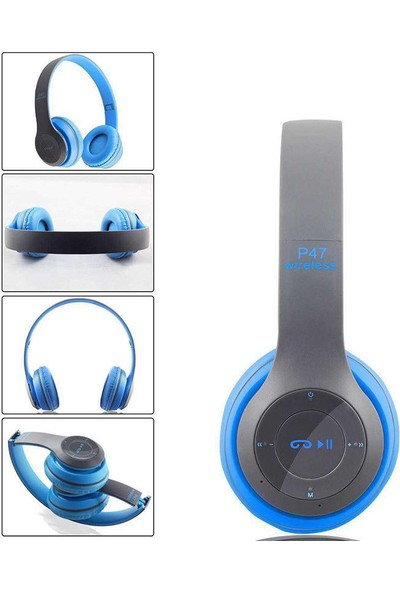 Altunga P47 Mavi Katlanalabilir 2.4+Edr Kablosuz Bluetooth Kulaklık
