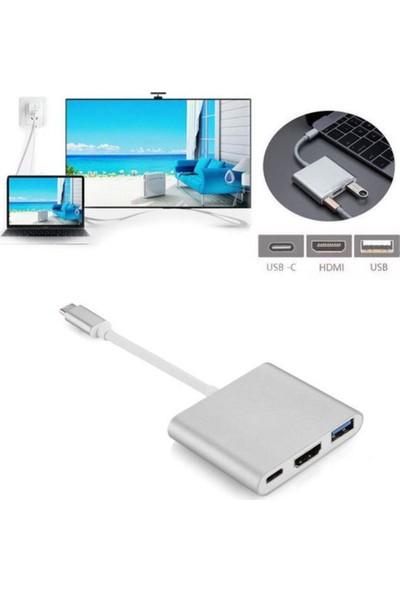 Blueway Type-C To HDMI USB 3.0 Çevirici 3'in 1 Dönüştürücü Adaptör
