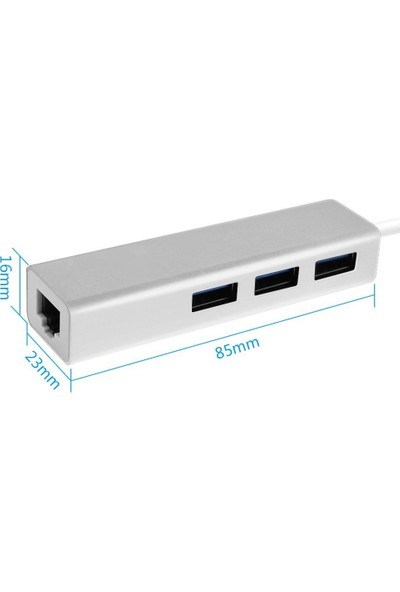 Blueway USB 3.0 Ethernet RJ45 Lan Çevirici 3 Port USB Çoklayıcı