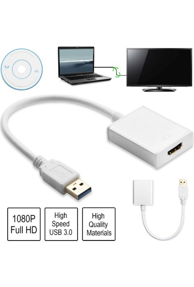Blueway USB 3.0 To HDMI Çevirici Dönüştürücü Kablo Adaptör