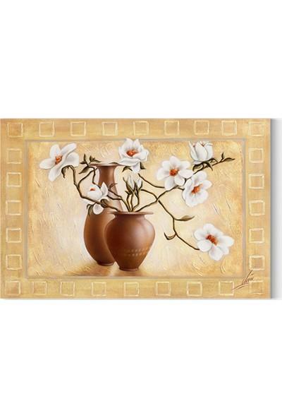 Desenlio Yağlı Boya Görünümlü Çiçek Kanvas Tablo
