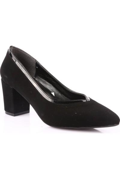Dgn 606 Kadın Sivri Burun Topuklu Ayakkabı Siyah Velvet