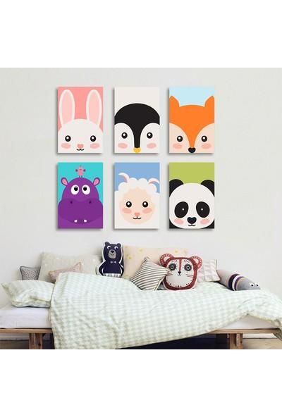 Vetro Design Şirin Hayvanlar 6 Adet 13 x 18 cm Mdf Tablo
