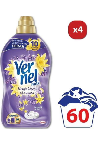 Vernel Max Çamaşır Yumuşatıcısı Nergiz Çiçeği & Lavanta 60 Yıkama 1440 ml x 4 Adet